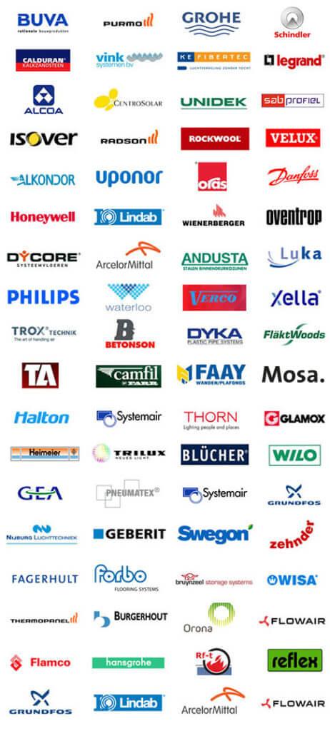 Logos fabrikanten en toeleveranciers