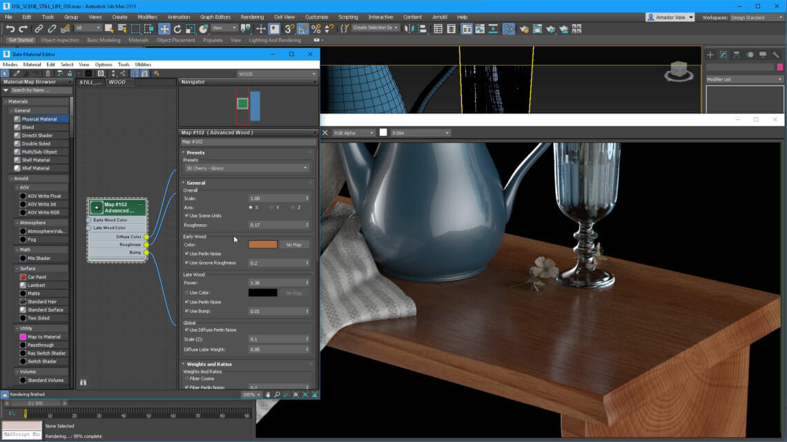 3ds Max 2019 Screen Shot - Wood