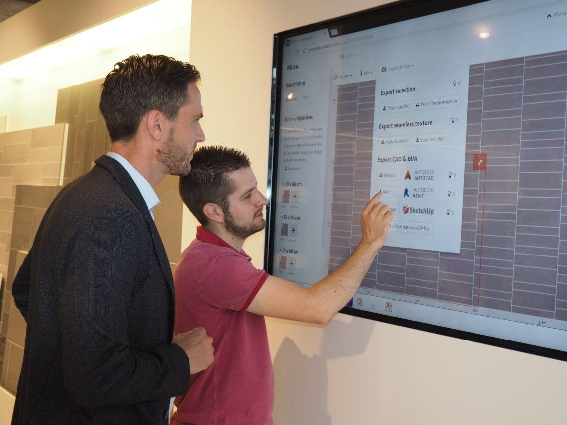 Dirk en mark laten de patroongenerator op de website van Mosa zien, met daarin zichtbaar de exportmogelijkheid naar de diverse CAD pakketten, incl. Autocad en Revit.